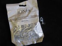 100 silver metal curtain tape hooks - Replace your plastic hooks that break!